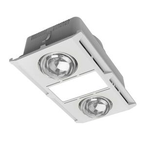 The PROFAN-2 Series is a 3-IN-1 Bathroom heater which combines heating, extraction and lighting in the one unit. Featuring 275W heat lamps, a powerful 400m³/h extractable 35W exhaust fan and a colour temperature switchable 12W LED Panel. Suitable for small to medium bathrooms with ceiling heights up to 2.4m. Backed by a Three Year Replacement Warranty for peace of mind.