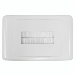 Outlet Plate with Brush Cover White