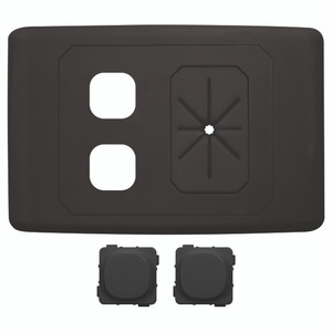 2 Way Outlet Plate With Cable Management Black