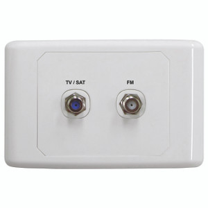 Satellite / TV Outlet Plate With FM Power Pass