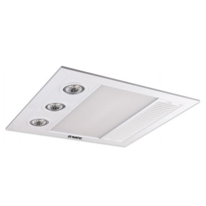 Linear Mini 3-in-1 Heater, Exhaust Fan with LED Light White