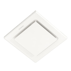 A square exhaust fan featuring a low profile slim design with 2 sizes and shapes available.