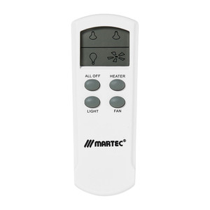 The MBHREM is a LCD remote kit design to work with Martec's full range of 3-in-1 bathroom heaters and exhaust fans. Capable of operating all functions remotely, the MBHREM is a great solution for larger bathrooms or for when your walls cannot be re-wired.