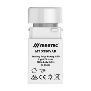 Rotary LED light dimmer, trailing edge. Suitable with most dimmable 240V and 12V lamp sources. Soft start for improved lamp life with over heating protection.