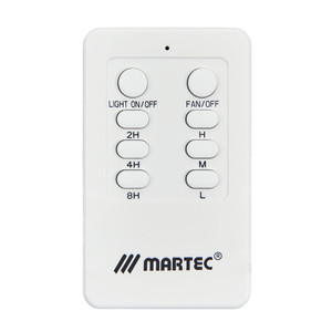 Slimline ceiling fan remote control with universal radio frequency and huge range of features including 1 - 8 hour timer, soft touch buttons, LCD screen. Suitable for all Martec AC Ceiling Fans.