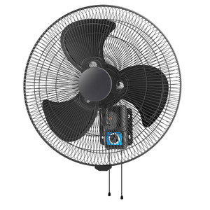 45cm Oscillating pull cord wall fan with matt black grill and three matt black aluminium blades.