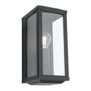 Modern Black Exterior Wall Light with Clear Glass Shade. Perfect for Entranceways, Patios and Exterior Under Cover Walls. LED Compatible.