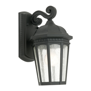 Decorative 1 Light Exterior Lantern Style with 8 x Stippled Clear Glass Panels. Powder coated enclosure with IP43 outdoor rating. Featuring a traditional design with classic finish.