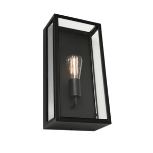 Modern Rectangular 1 Light Exterior Wall Light featuring Clear Glass Panels and Classy Black Finish. Ideal for Coastal Areas, perfect for entranceways, patios and under cover outdoor areas.