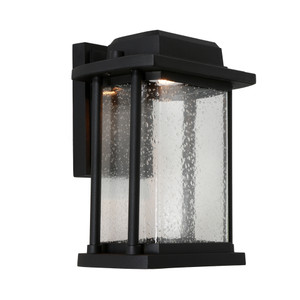 Traditional yet Modern LED Exterior Lantern Style Wall Light. Perfect for the Front Entrance to your Home. Featuring Black finish and Clear Stippled Glass.