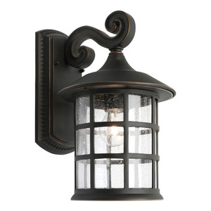 Large Traditional Exterior Wall Light. Lantern Shape with Clear Stippled Side Glass and Bronze Finish.