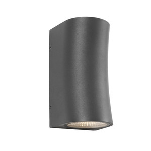 Modern Power Coated 2 Light LED Exterior Up/Down Wall Light. Charcoal Finish with Clear Glass Lens. Perfect for Entranceways and Exterior Walls.