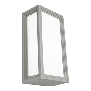 Classy Modern Exterior Wall Light with Opal Acrylic Lens and Silver Finish. Coastal Rated with IP54 Construction.