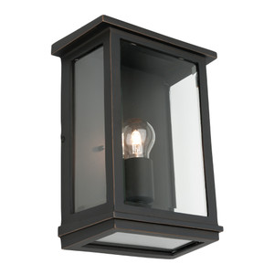 Large Classic Rectangular Shaped Exterior Wall Light with Perfect Bronze Finish and Clear Bevelled Glass.