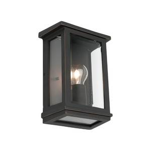 Small Classic Rectangular Shaped Exterior Wall Light with Perfect Bronze Finish and Clear Bevelled Glass.