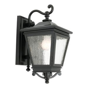 High Quality Traditional Exterior Wall Light with Black Finish and 3 x Clear Stipplled Glass Panels. Perfect for Entranceways with it's Timeless Design and Quality Finish.