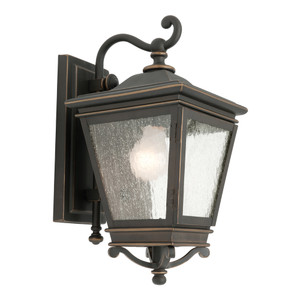 High Quality Traditional Exterior Wall Light with Bronze Finish and 3 x Clear Stipplled Glass Panels. Perfect for Entranceways with it's Timeless Design and Quality Finish.