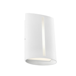 Temma LED Exterior Wall Light with Opal Acrylic Lens and White Finish. Includes 8W LED with IP44 Indoor/Outdoor Under Cover Area Rating.