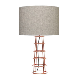 Beatrice is a Copper Plated Table Lamp with Grey Felt Shade and Grey Cloth Cable.