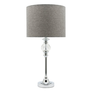 Chrome Table Lamp with a Decorative Glass Ball and Dark Grey Linen Shade with Black Cable with Switch.