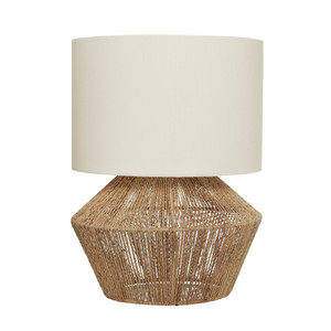 Balinese Style Table Lamp with Base made of Beige Natural Thread with Off White Shade.