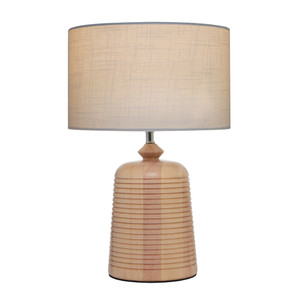 Eira is a Natural Colour Table Lamp Timber Base and Off White Material Shade.