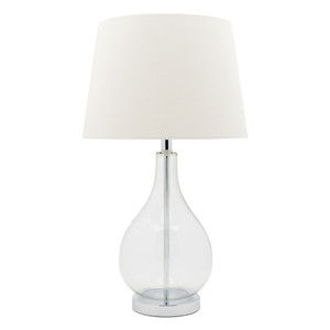 Fashionable Table Lamp with Clear Glass Decorative Base featuring Chrome Highlights as well as Clean, Crisp White Shade.