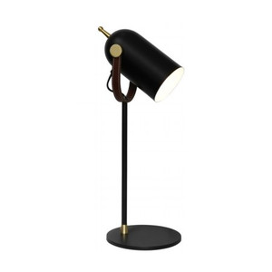 Jacob 1 Light Straight Table Lamp Black/Satin Brass with Black Shade