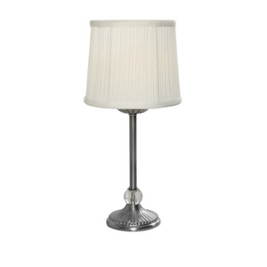 Antique Silver Table Lamp with Decorative Glass Ball and Off White Silk Shade.
