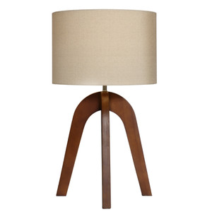 Modern Stylish 4 Legged Wooden Walnut Table Lamp with Fawn Linen Shade.