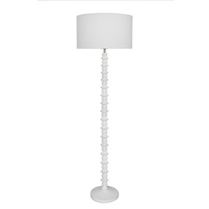 Attractive Matt White Carved Wooden Floor Lamp with White Linen Shade. White Cable with In-Line Switch.
