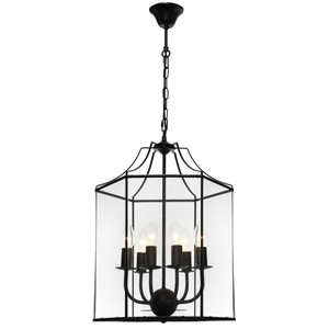 Arcadia is a Contemporary, Elegant and Classically Designed 6 Light Pendant Featuring Hexagonal Shape, Black Metalware and Bevelled Glass Panels. Looks great with Decorative Filament Globe.