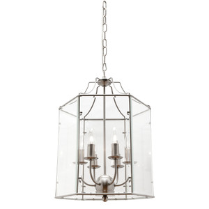 Arcadia is a Contemporary, Elegant and Classically Designed 6 Light Pendant Featuring Hexagonal Shape, Satin Chrome Metalware and Bevelled Glass Panels. Looks great with Decorative Filament Globe.