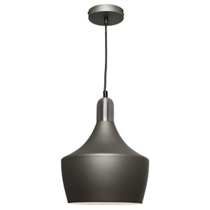 Ultra Modern Sleek Pendant Suitable for Kitchen and Dining Areas. Stunning Charcoal Finish with Satin Chrome Highlights and Adjustable Black Cable and Canopy.