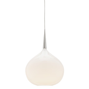 Add a Touch of Elegance with the Bollene Large White Opal 1 Light Glass Pendant, featuring Chrome Highlights and Clear Drop Cable. Also Available in Small and Medium Sizes.