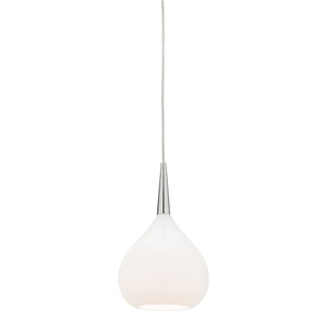 Add a Touch of Elegance with the Bollene Small White Opal 1 Light Glass Pendant, featuring Chrome Highlights and Clear Drop Cable. Also Available in Medium and Large Sizes.