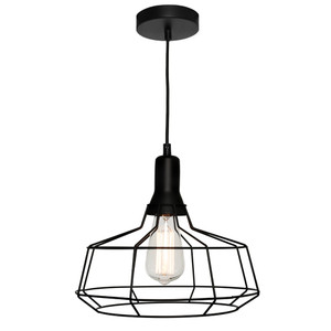 The Cage Pendant is both Modern and Industrial. Featuring a Black Cage Suspended from a Black Cable, this Pendant will add Character to Any Room. Also Available in Small and Medium Sizes.