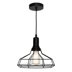 The Cage Pendant is both Modern and Industrial. Featuring a Black Cage Suspended from a Black Cable, this Pendant will add Character to Any Room. Also Available in Small and Large Sizes.