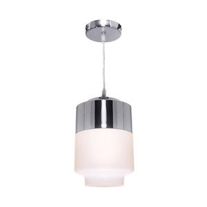 Charlie is a White Glass Single Pendant with Chrome Shade/Canopy and Open Glass Bottom. Includes Adjustable Clear Cable and LED Compatible Lamp Holder.