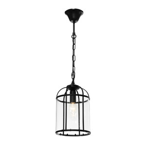Clovelly is a Traditional, Elegant and Classically Designed 1 Light Pendant Featuring Cage Shape, Black Metalware and Curved Glass Panels. Looks great with Decorative Filament Globe.