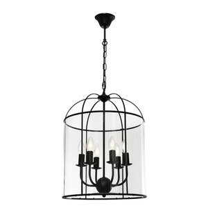 Clovelly is a Traditional, Elegant and Classically Designed 6 Light Pendant Featuring Cage Shape, Black Metalware and Curved Glass Panels. Looks great with Decorative Filament Globe.