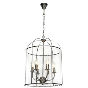 Clovelly is a Traditional, Elegant and Classically Designed 6 Light Pendant Featuring Cage Shape, Chrome Metalware and Curved Glass Panels. Looks great with Decorative Filament Globe.