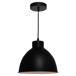 Single Modern/Industrial Black Pendant with Metal Shade and Black Cable. Perfect for Dining Area, Kitchen or Living Areas. Available in 3 Stunning Colour Options.