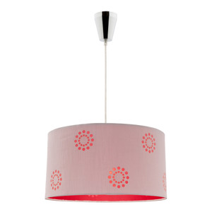 DIY Pendant with Silver/Red Floral Pattern Shade and Chrome Highlights. Fabian is an easy Do-It-Yourself Pendant, No Electrican Required.