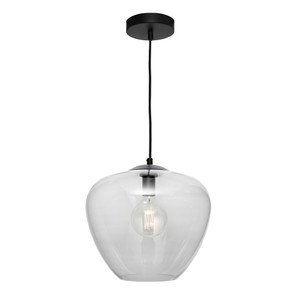 Attractive Traditional 1 Light Clear Glass Pendant. Features Black Metal Canopy & Black Cloth Cord Cable.