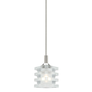 Ice is a 12V 1 Light Rod Pendant with Satin Chrome Finish. Featuring a Unique Clear/Frosted Glass Shade, Ice is a Stylish and Contemporary Fitting Perfect for Any Home. Includes 1 x 50W Bi-Pin 12V Globe, Requires 12V Transformer to Function.