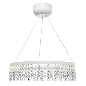 Majestic is a Beautiful LED Pendant with Crystal Drops. Perfect for Modern Homes, the Precision Cut and Polished Crystal Prisms will Sparkle and add Reflected Light to Your Space. Ideal over the Dining Room Table or as a Statement Piece in the Living Room.