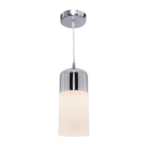 Single Pendant Cord Drop with A Shiny Chrome Top and a Matt Opal Glass Bottom. Adjustable Cord and Perfect for Nearly Any Room in the House.