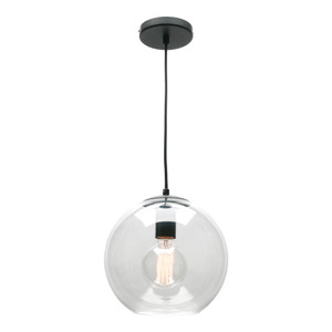 Orpheus is a Modern 1 Light Pendant with 25cm Clear Glass Shade and 2 Metre Black Cloth Cord Cable. Striking Appearance that will Add Class to Your Home. Perfect for Over Kitchen Benches, Dining Tables or Featured in Living Areas or Stairwells.