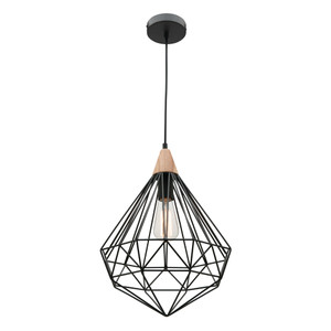 Raglan is a Modern and Industrial Style Black Diamond Shaped Metal Pendant with Baltic Wood Topper. Also Features 2 Metre Adjustable Black Cable Drop and Black Canopy. Perfect as a Single Pendant or Installed in Groups of 2 or 3 over Kitchen Islands, Living or Dining Areas.
